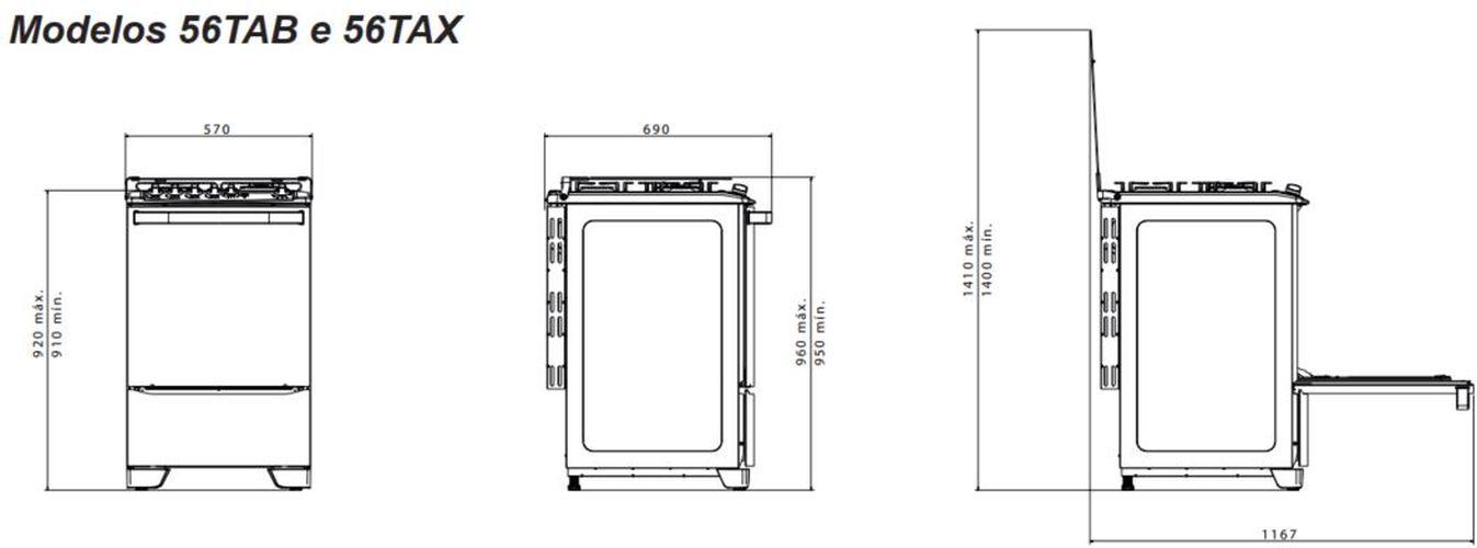 Medidas do fogão Electrolux 4 bocas - 56TAB