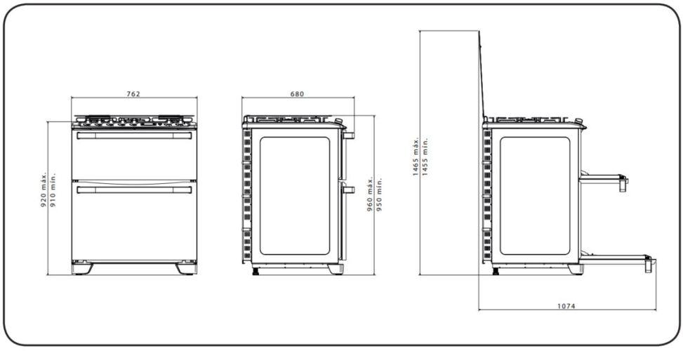 Medidas do fogão Electrolux 5 bocas - 76XDR