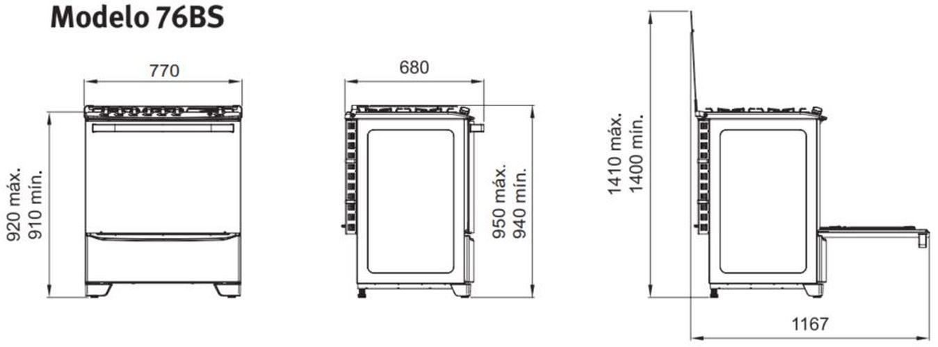Medidas do fogão Electrolux 6 bocas - 76BS