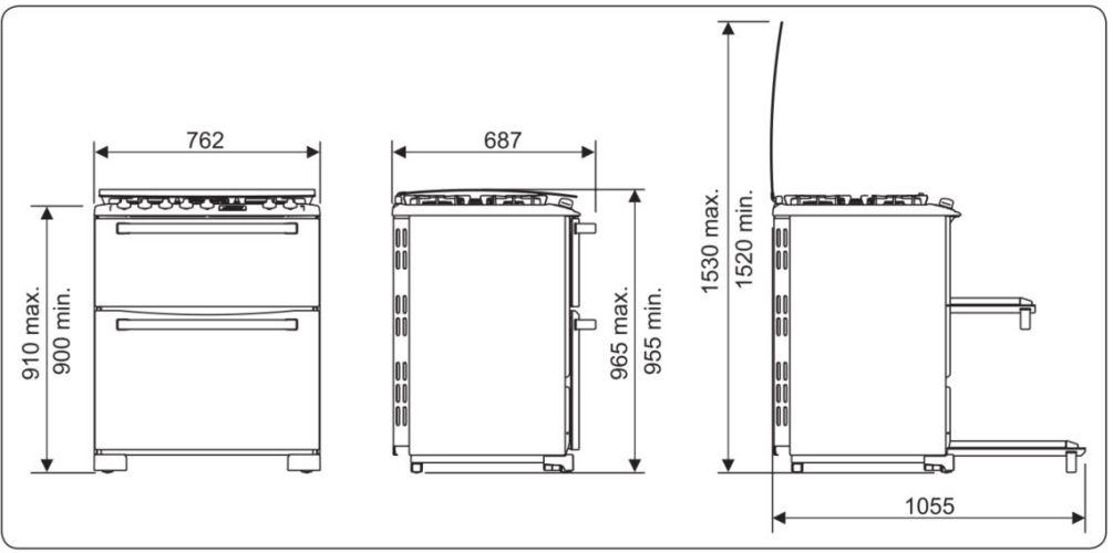 Medidas do fogão Electrolux 5 bocas - 76DFX
