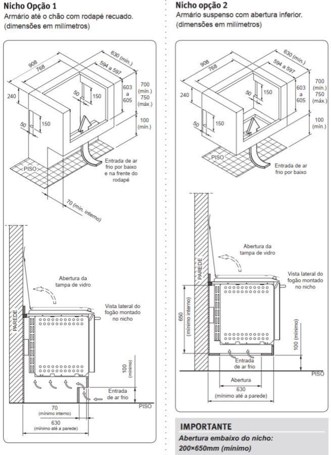 Fogão Electrolux 76EIX - Nicho de instalação - opção 1 e 2