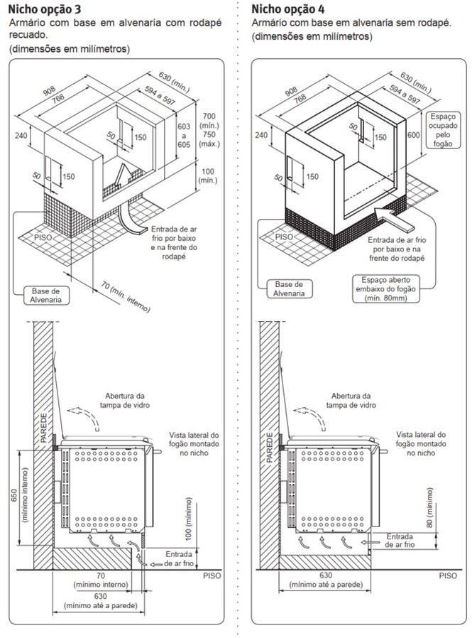 Fogão Electrolux 76EIX - Nicho de instalação - opção 3 e 4