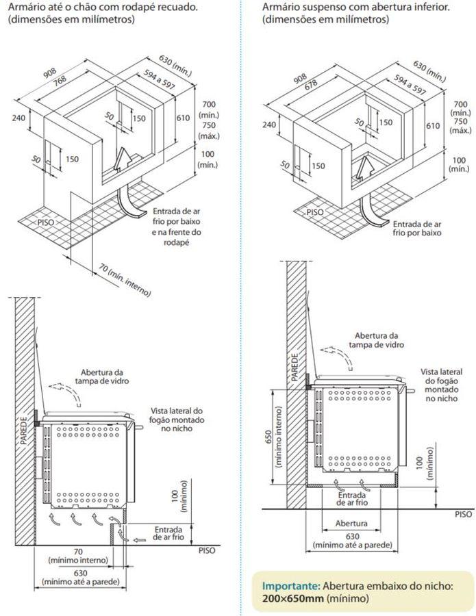 Fogão Electrolux 76EVX - Nicho de instalação - opção 1 e 2
