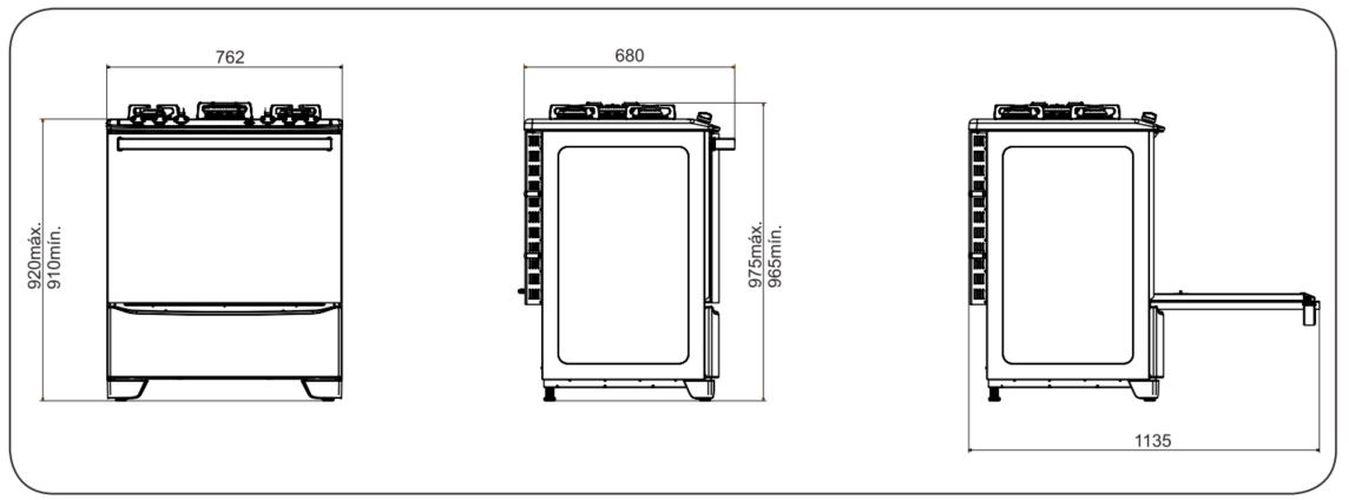 Medidas do fogão Electrolux 5 bocas - 76GSS