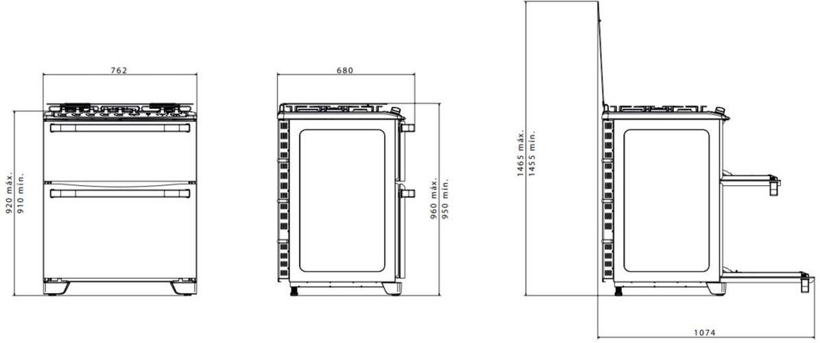 Medidas do fogão Electrolux 5 bocas - 76MDX