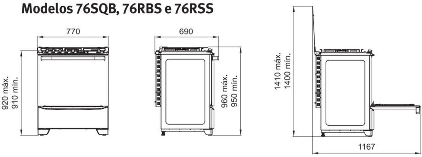 Medidas do fogão Electrolux 5 bocas - 76RBS