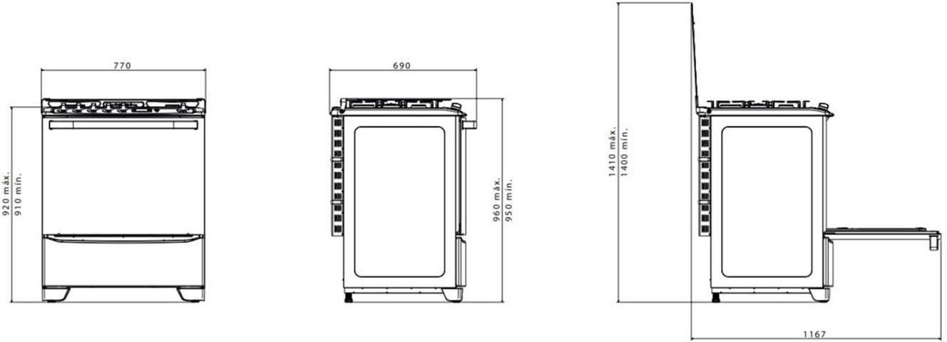 Medidas do fogão Electrolux 5 bocas - 76SAB