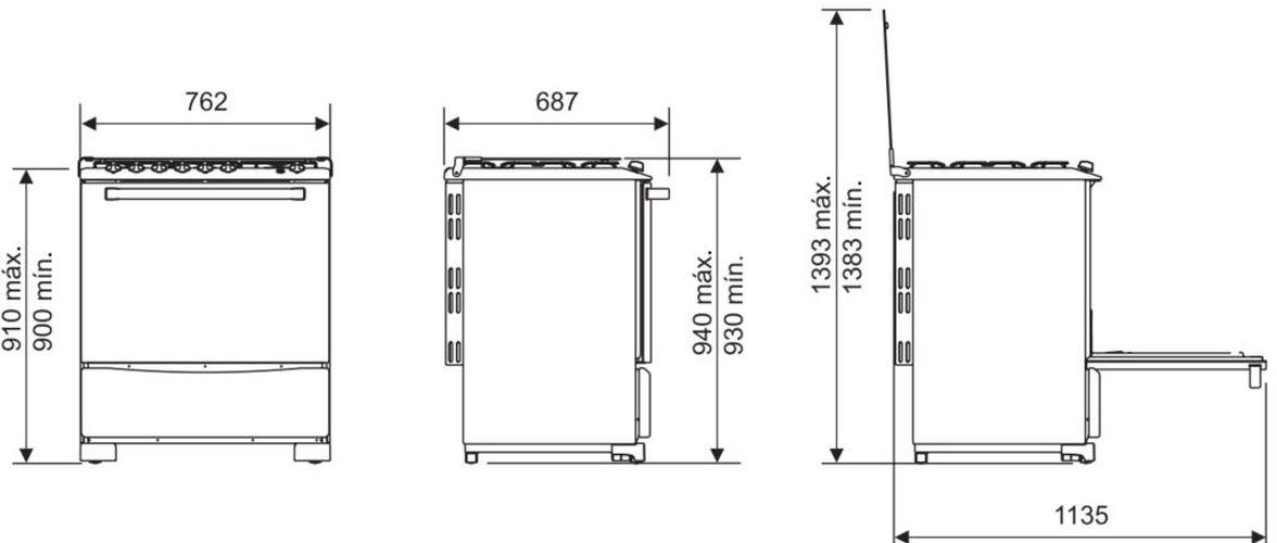 Medidas do fogão Electrolux 5 bocas - 76SB