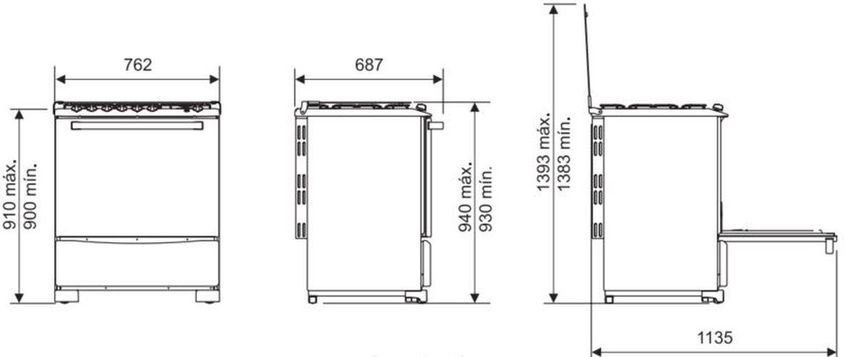 Medidas do fogão Electrolux 5 bocas -