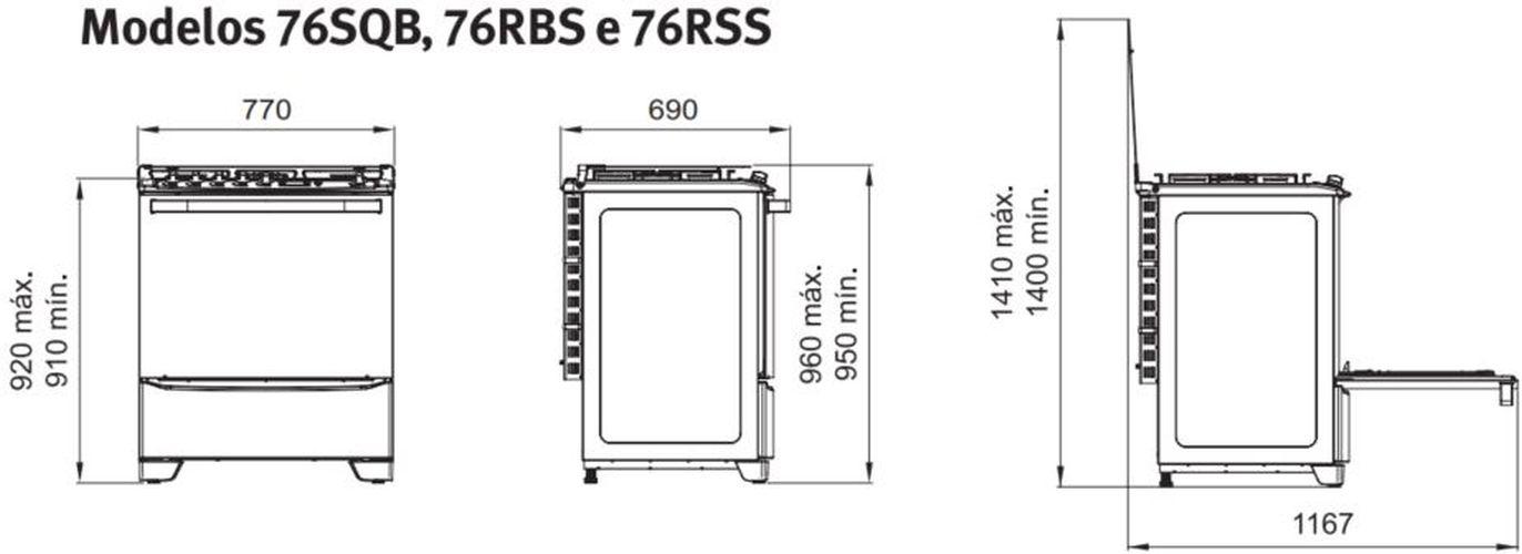 Medidas do fogão Electrolux 5 bocas - 76SQB