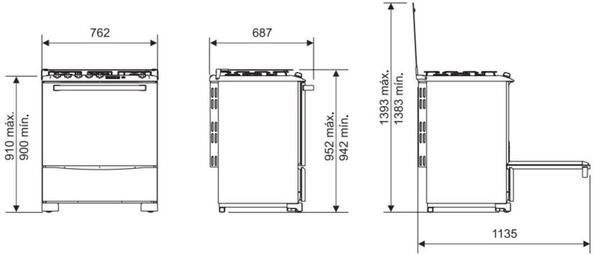Medidas do fogão Electrolux 5 bocas - 76SRX