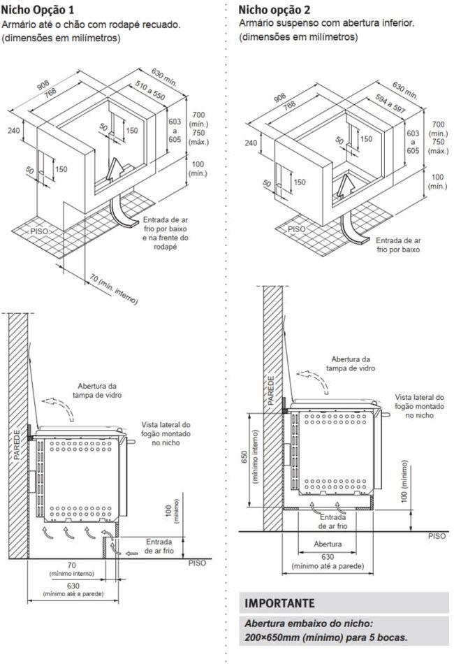 Fogão Electrolux 76EGN - Nicho de instalação - opção 1 e 2
