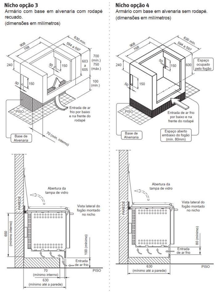 Fogão Electrolux 76EGN - Nicho de instalação - opção 3 e 4