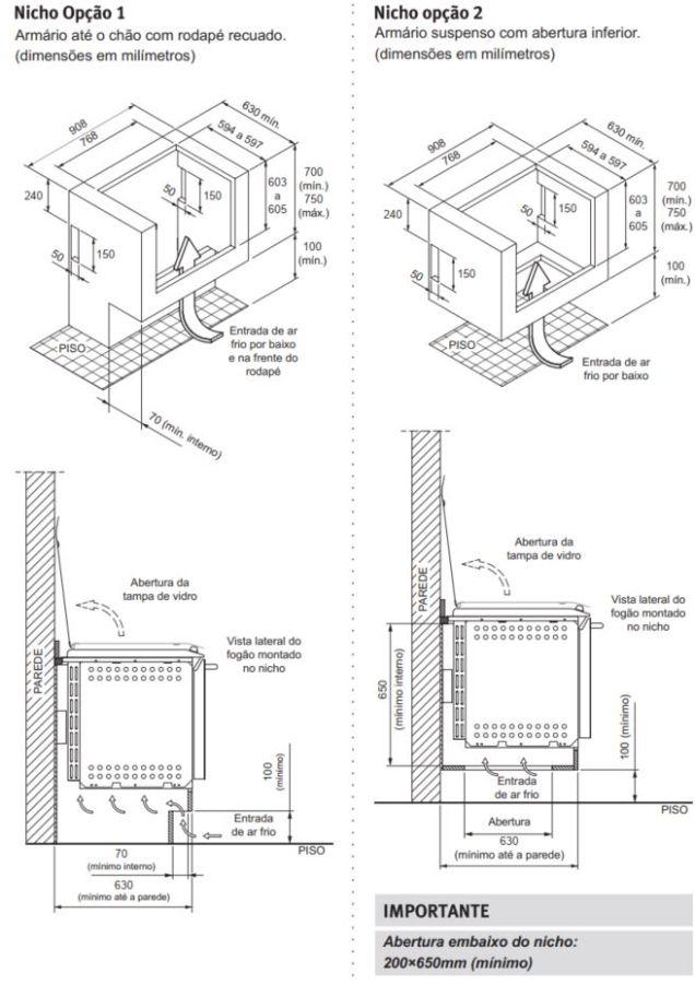Fogão Electrolux 76XGE - Nicho de instalação - opção 1 e 2