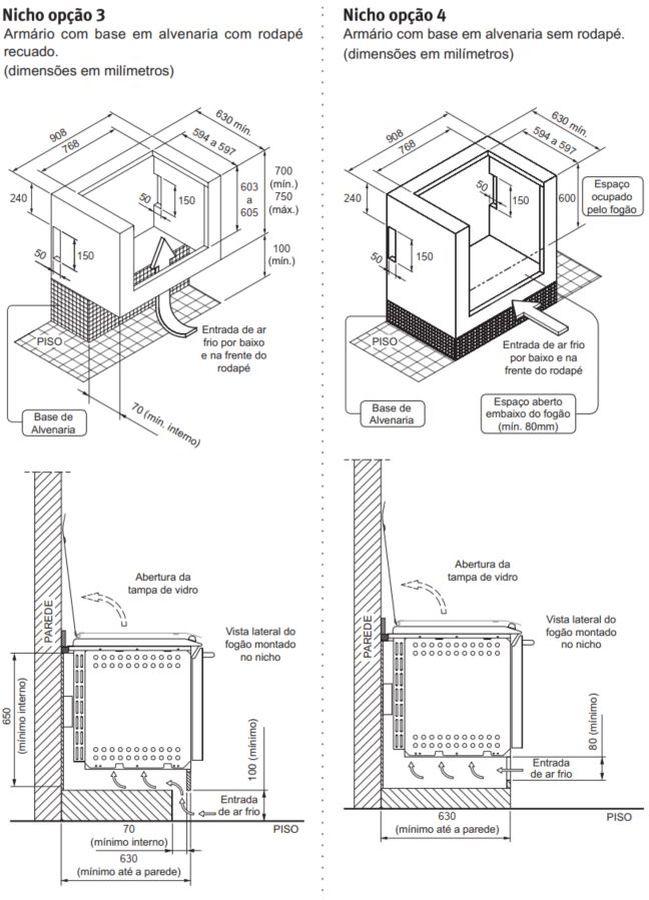 Fogão Electrolux 76XGE - Nicho de instalação - opção 3 e 4