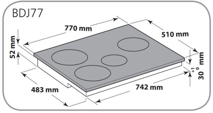 Instalação do Cooktop Brastemp de Indução BDJ77 - dimensões externas