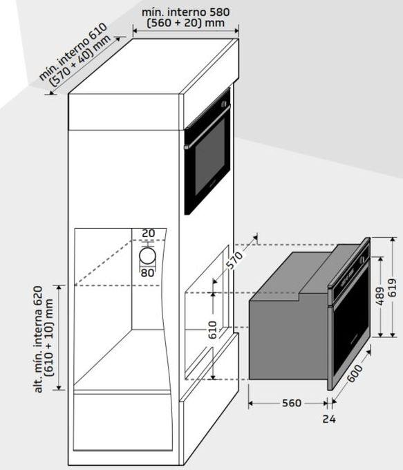 Instalação do forno de embutir Brastemp - BOA84 - opção 1
