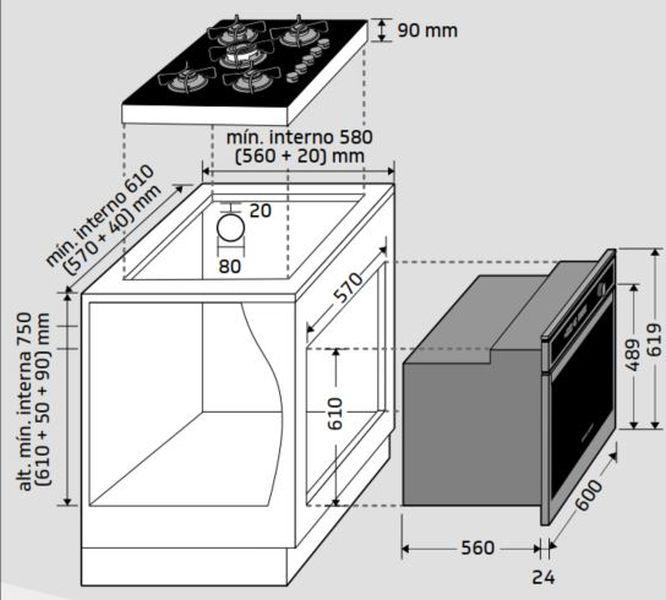Instalação do forno de embutir Brastemp - BOA84 - opção 2
