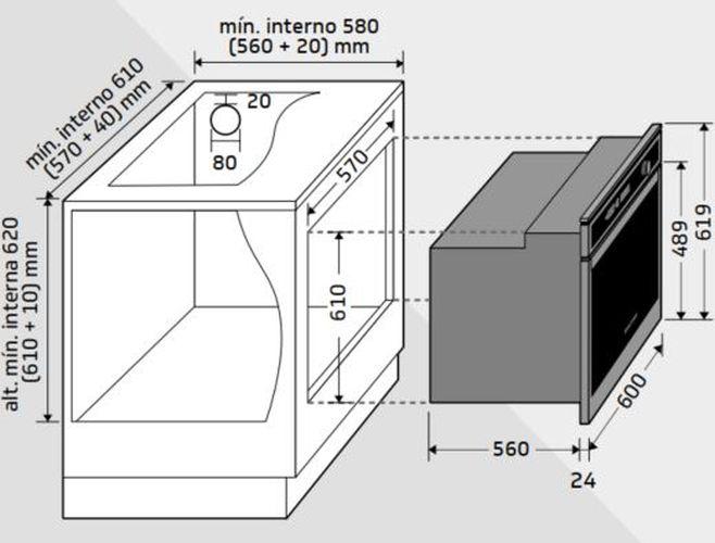 Instalção do forno de embutir Brastemp - BOA84 - opção 3