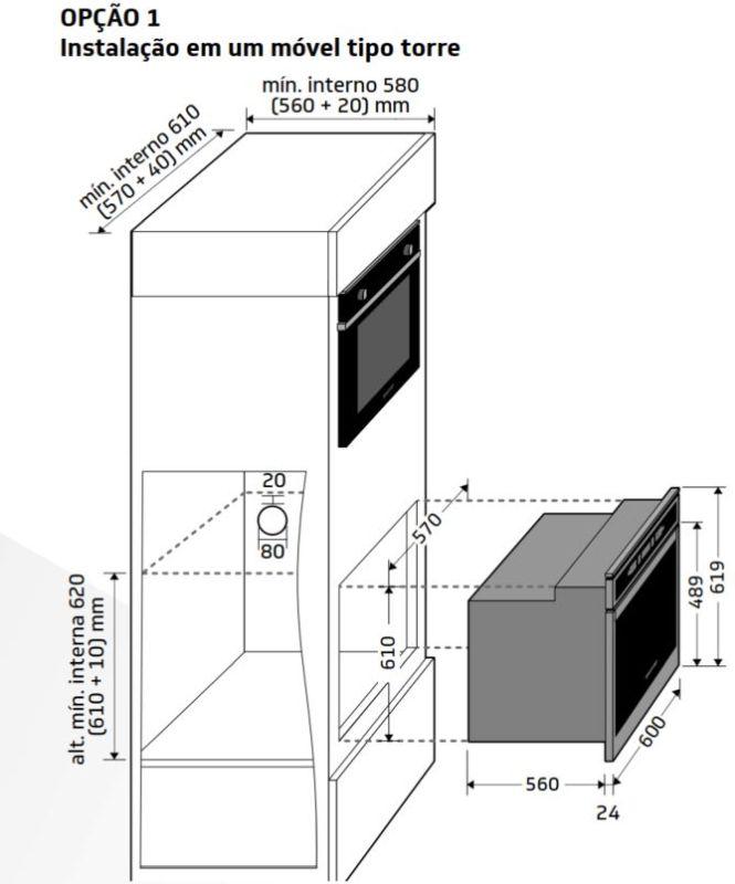 Instalação do forno de embutir Brastemp - BOT84 - opção 1