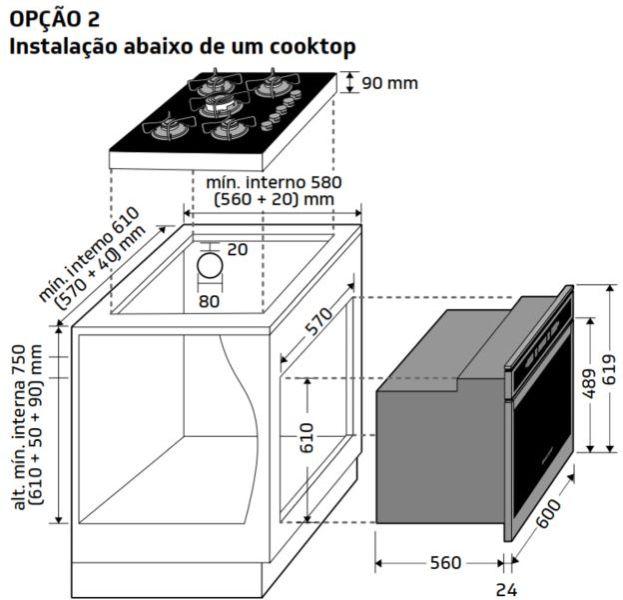 Instalação do forno de embutir Brastemp - BOT84 - opção 2