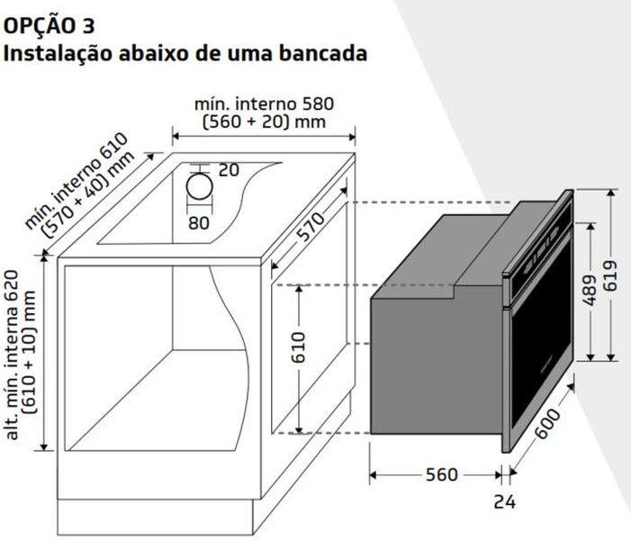 Instalção do forno de embutir Brastemp - BOT84 - opção 3