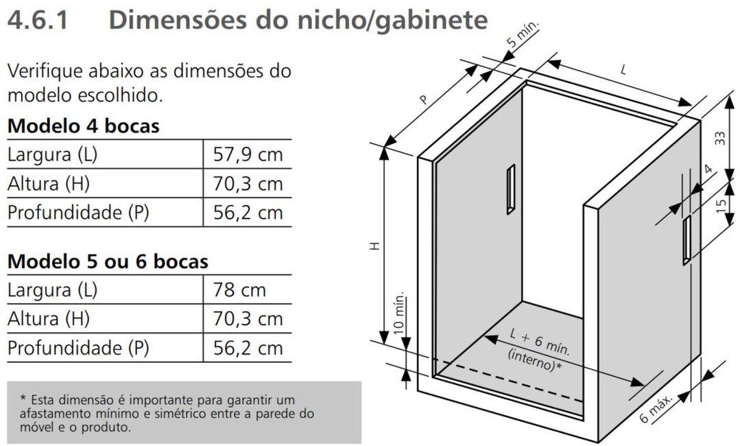Medidas do nicho de instalação fogão 4 bocas de embutir Brastemp BYS4G