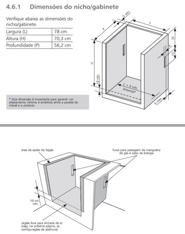 Medidas do nicho de instalação fogão 5 bocas função vapor - BYS5CAR