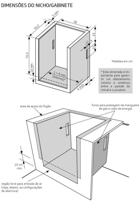 Medidas do nicho de instalação fogão 5 bocas com quadrichama - BYS5QBR