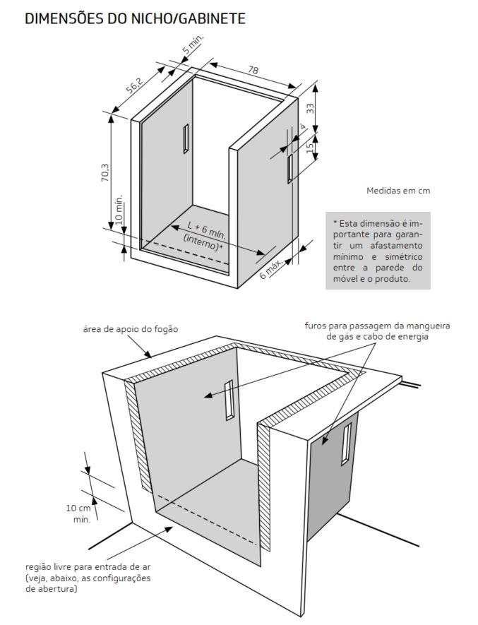 Medidas do nicho de instalação fogão 5 bocas com timer digital - BYS5TBR