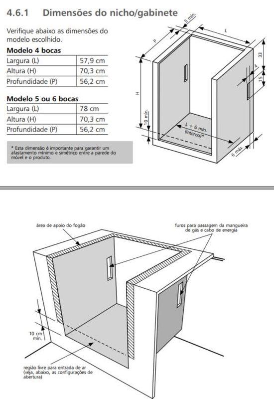 Medidas do nicho de instalação fogão 6 bocas de embutir branco - BYS6NA