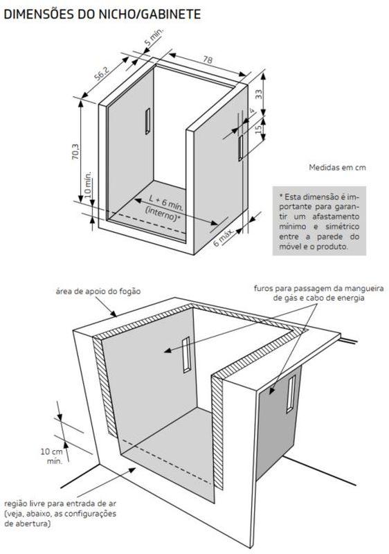 Medidas do nicho de instalação fogão 6 bocas de embutir branco - BYS6NBB