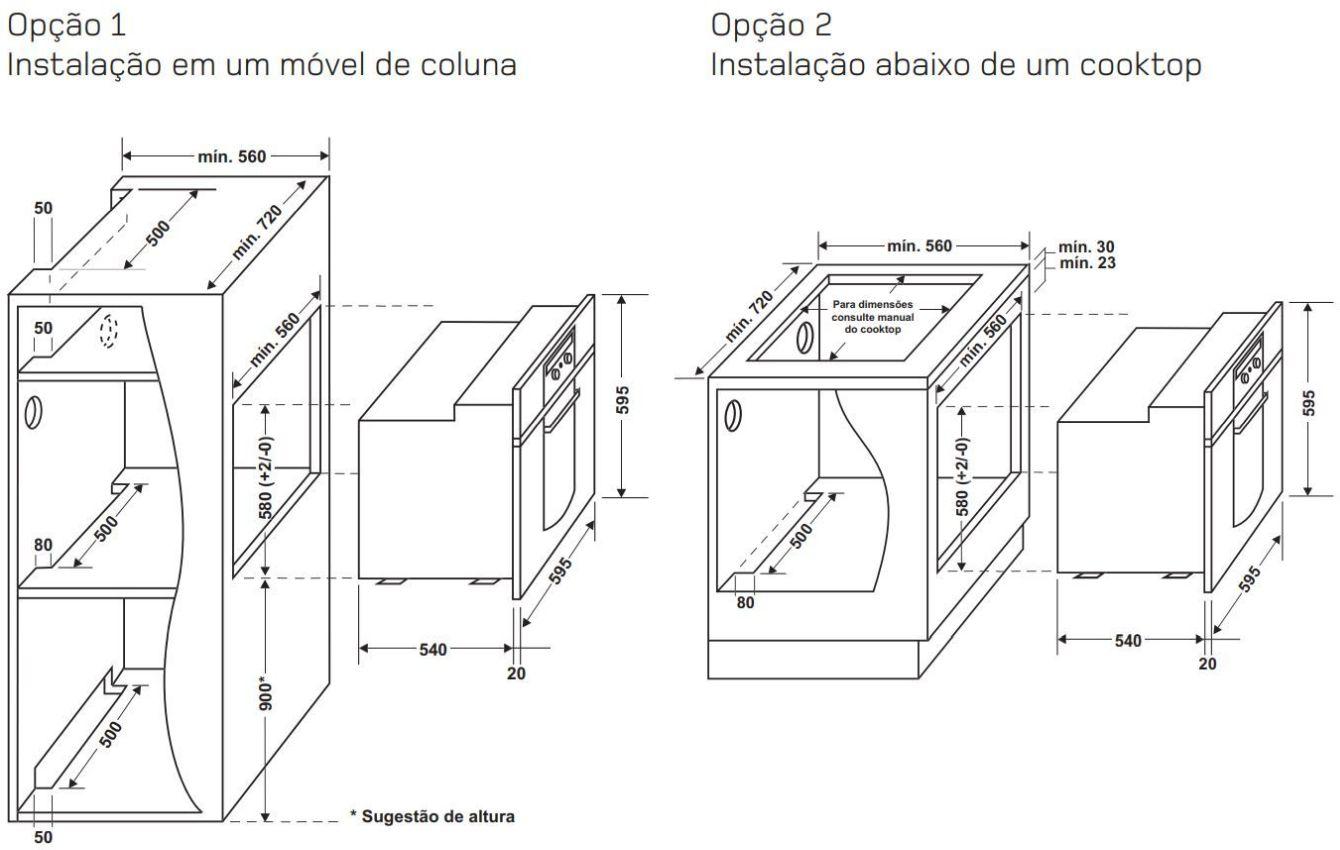 Medidas do Forno Elétrico Brastemp de Embutir - BO260
