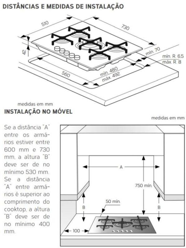 Instalação do Cooktop Brastemp a gás GDK73 - Dimensões do nicho