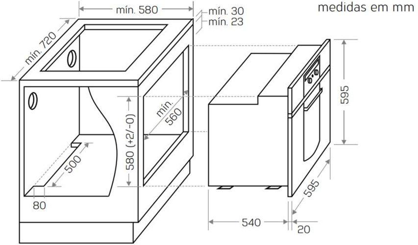 Instalação do forno de embutir Brastemp - GOC60 - opção 2