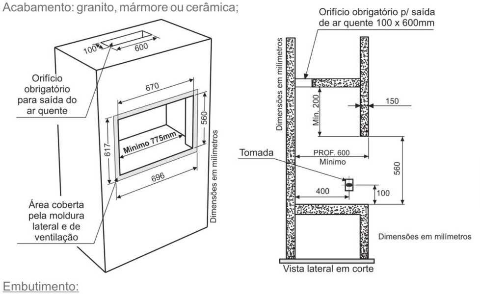 Instalação da churrasqueira elétrica de embutir Fischer