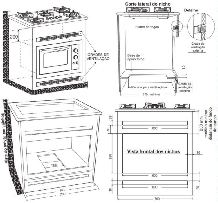Instalação do forno de embutir Fischer Fit Line - Sob fogão