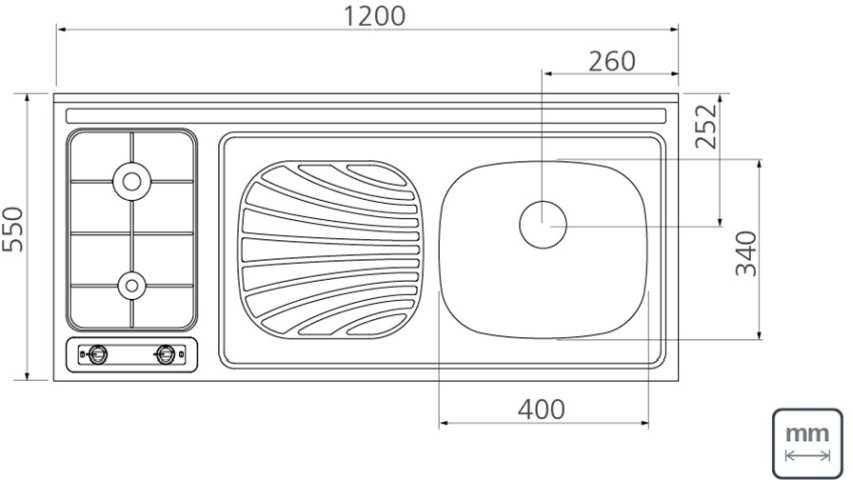 Medidas da Pia-fogão a gás Tramontina 120x55 Aço Inox