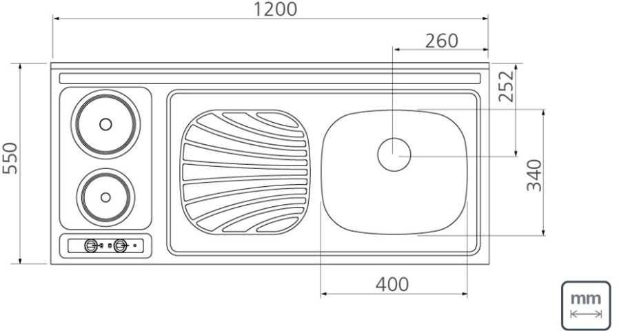 Medidas da Pia-fogão elétrico Tramontina - 120x55 cm em Aço Inox