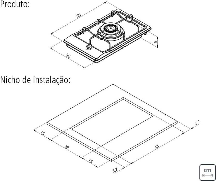 Dimensões do produto e do nicho de instalação - Cooktop Tramontina 94700-111