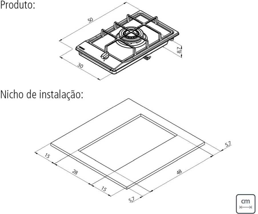 Dimensões do produto e nicho de instalação - Cooktop Tramontina 94700-114