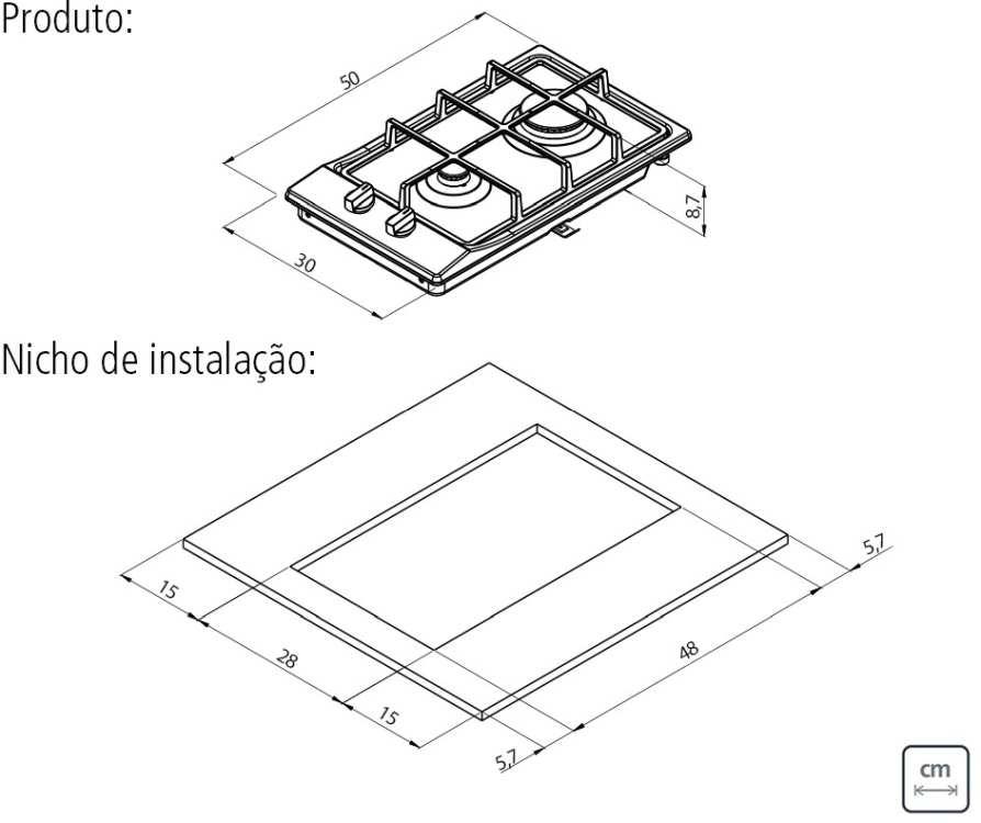 Dimensões do produto e nicho de instalação - Cooktop 2 bocas Tramontina
