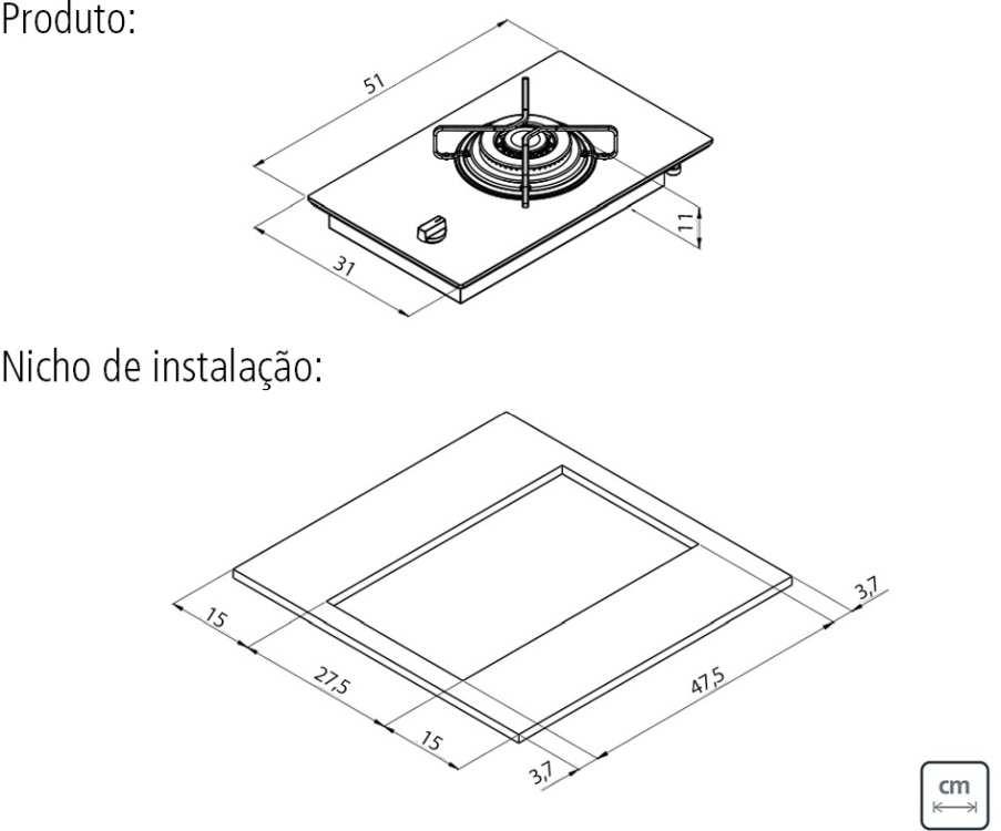 Dimensões do produto e do nicho de instalação - Cooktop Tramontina 94702-101