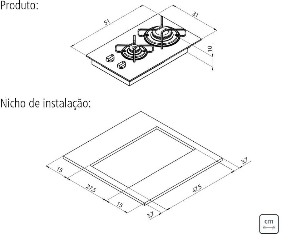 Dimensões do produto e nicho de instalação - Cooktop 2 bocas a gás Tramontina