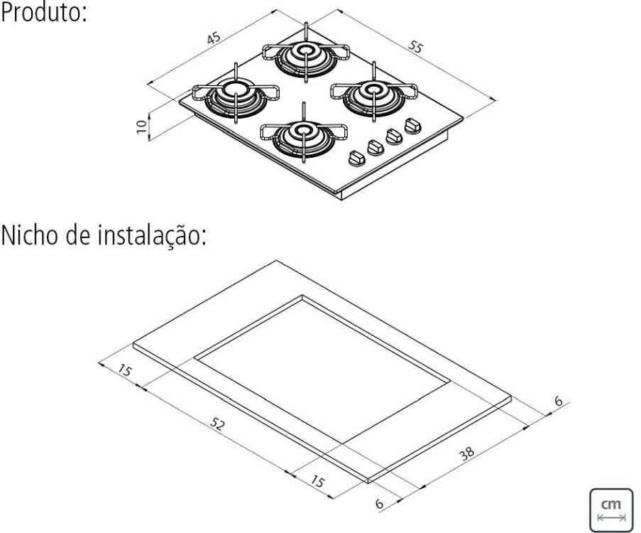 Dimensões do produto e do nicho de instalação - cooktop Tramontina