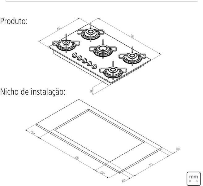 Dimensões do produto e nicho de instalação - Cooktop Tramontina 5 bocas