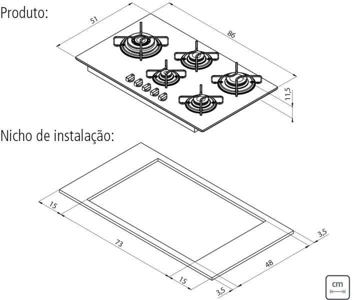 Dimensões do produto e nicho de instalação - Cooktop Tramontina