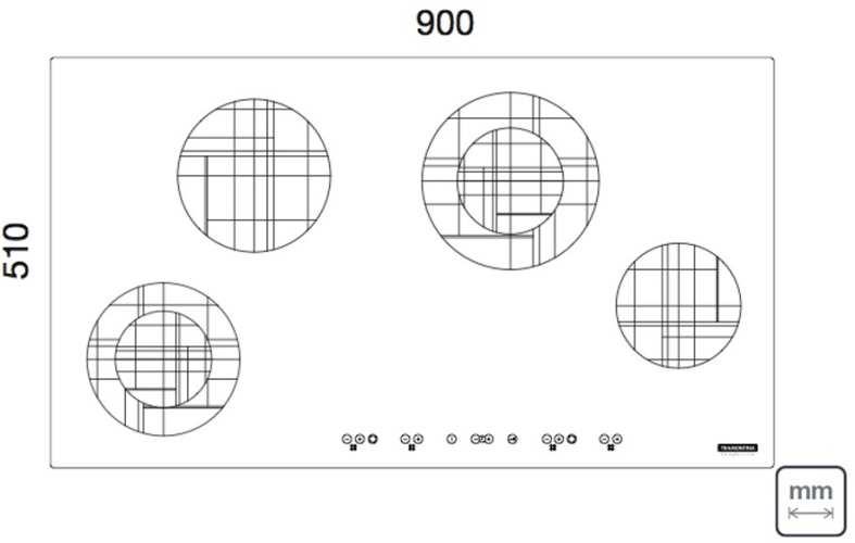 Dimensões do produto - Cooktop Elétrico Tramontina