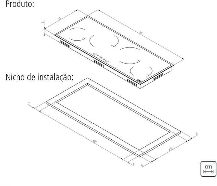 Dimensões do produto e nicho de instalação - Cooktop de Indução Tramontina