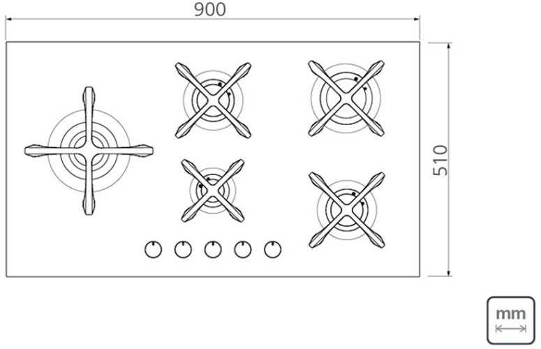 Dimensões do produto - Cooktop Tramontina